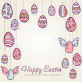 Easter eggs hand drawn postcard Stock Images