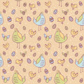 Easter eggs, hen and chicken seamless texture Royalty Free Stock Photography