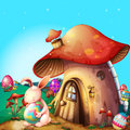 Easter eggs hidden near a mushroom-designed house Royalty Free Stock Photo