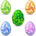 Easter eggs icon set in celtic style Stock Image