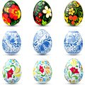 Easter eggs icon set in traditional russian style Stock Photography