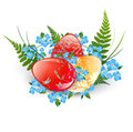 Easter eggs illustration of decorated with fern and flowers over white Stock Images