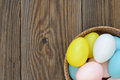 Easter eggs inside a wicker basket Royalty Free Stock Image