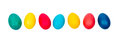 Easter eggs isolated ccolorful in a row Royalty Free Stock Photo