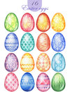 Easter eggs isolated on white background. Watercolor eggs for Easter design greeting cards, invitations, labels, p