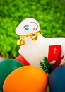 Easter eggs and lamb Royalty Free Stock Image