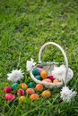 Easter eggs on lawn white wicker basket with white flowers and colorful some lying the grass Royalty Free Stock Photography