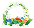 Easter eggs with lush foliage and daisies colorful painted background round place for text Stock Images