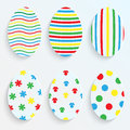 Easter eggs made of paper set with colorful patterns Stock Photo