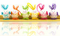 Easter eggs on mat group of background Stock Photos