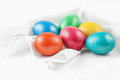 Easter eggs on the napkin colorful Royalty Free Stock Photos