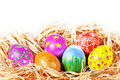 Easter eggs in nest Stock Photo