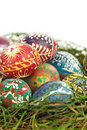 Easter eggs in nest closeup Royalty Free Stock Photo