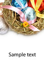 Easter eggs in a nest of hay Stock Photos