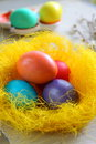 Easter eggs in the nest lie a of decorative Royalty Free Stock Images
