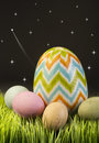 Easter eggs at night with stars streaking Royalty Free Stock Photography