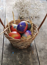 Easter eggs on a old wooden table close up photo Royalty Free Stock Photos