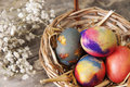 Easter eggs on a old wooden table close up photo Stock Image