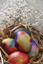 Easter eggs on a old wooden table close up photo Royalty Free Stock Images