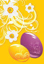 Easter eggs on the ornamental background Stock Photo
