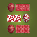 Easter eggs and ornamental patterns set of painted red illustration in freely scalable editable vector format Royalty Free Stock Image