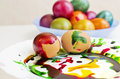Easter eggs painted in different colors Royalty Free Stock Photos