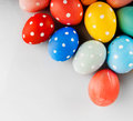 Easter eggs painted in pastel colors on a white background Royalty Free Stock Photography