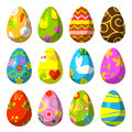 Easter eggs painted with pattern vector illustration.