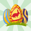 Easter eggs painted with spring decoration retro multi colored ornament organic food holiday vector.