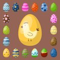 Easter eggs painted with spring pattern multi colored organic food Royalty Free Stock Photo