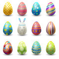 Easter eggs painted with spring vector illustration on white