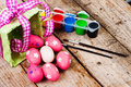 Easter eggs painted on the wooden background decorated Stock Photography