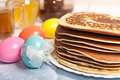 Easter eggs and pancakes Stock Photography
