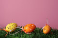 Easter eggs on pastel pink background Stock Images