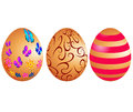 Easter eggs with pattern on white background Royalty Free Stock Photo