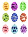 Easter eggs percentages off bogo sale sign colorful with stripes dots and flowers have various signs also buy one get one free Royalty Free Stock Photography