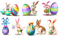 Easter eggs with playful bunnies illustration of the on a white background Royalty Free Stock Photos