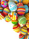 Easter eggs with plenty of copy space for text happy conceptual illustration isolated on white background d render Royalty Free Stock Photo