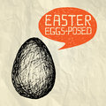 Easter eggs posed exposed happy easter card illustration with hand drawn egg and bubble speech on crumpled paper background Stock Images