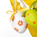 Easter eggs with a ribbon on a white background Stock Photo