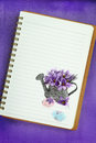 Easter eggs saffron flowers painting blank notebook page Royalty Free Stock Photography