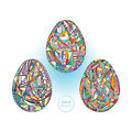 Easter eggs set background. Hand drawn abstract holidays illustration.