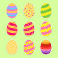 Easter Eggs Set. Flat Style. Vector