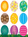Easter eggs set illustration of with grass and wildflower on white background Royalty Free Stock Photography