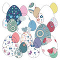 Easter eggs set vector illustration colorful flowery collection on white background Royalty Free Stock Image