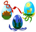 Easter eggs with silhouettes of animals three red green yellow and blue ribbon Royalty Free Stock Photos
