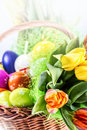 Easter eggs and spring tulips in wooden knitting basket Royalty Free Stock Photography