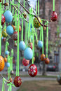 Easter eggs in the square Royalty Free Stock Image