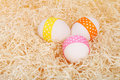 Easter eggs on straw Royalty Free Stock Photos
