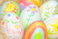 Easter eggs on straw Royalty Free Stock Image